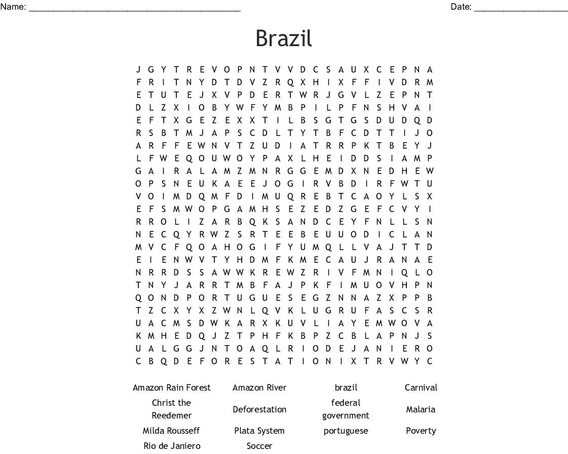 Brazil Word Search