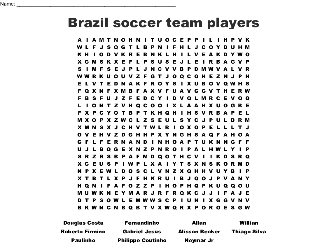 Brazil Soccer Team Players Word Search