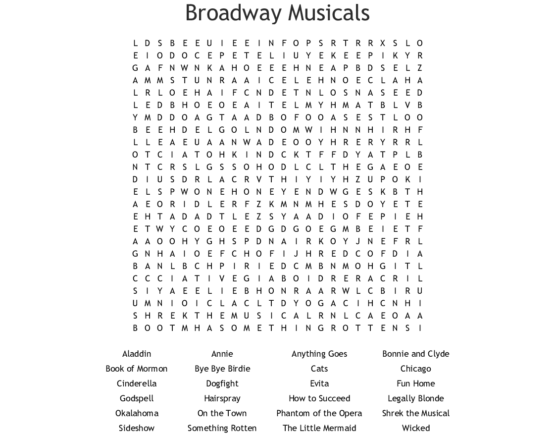 Broadway Musicals Word Search
