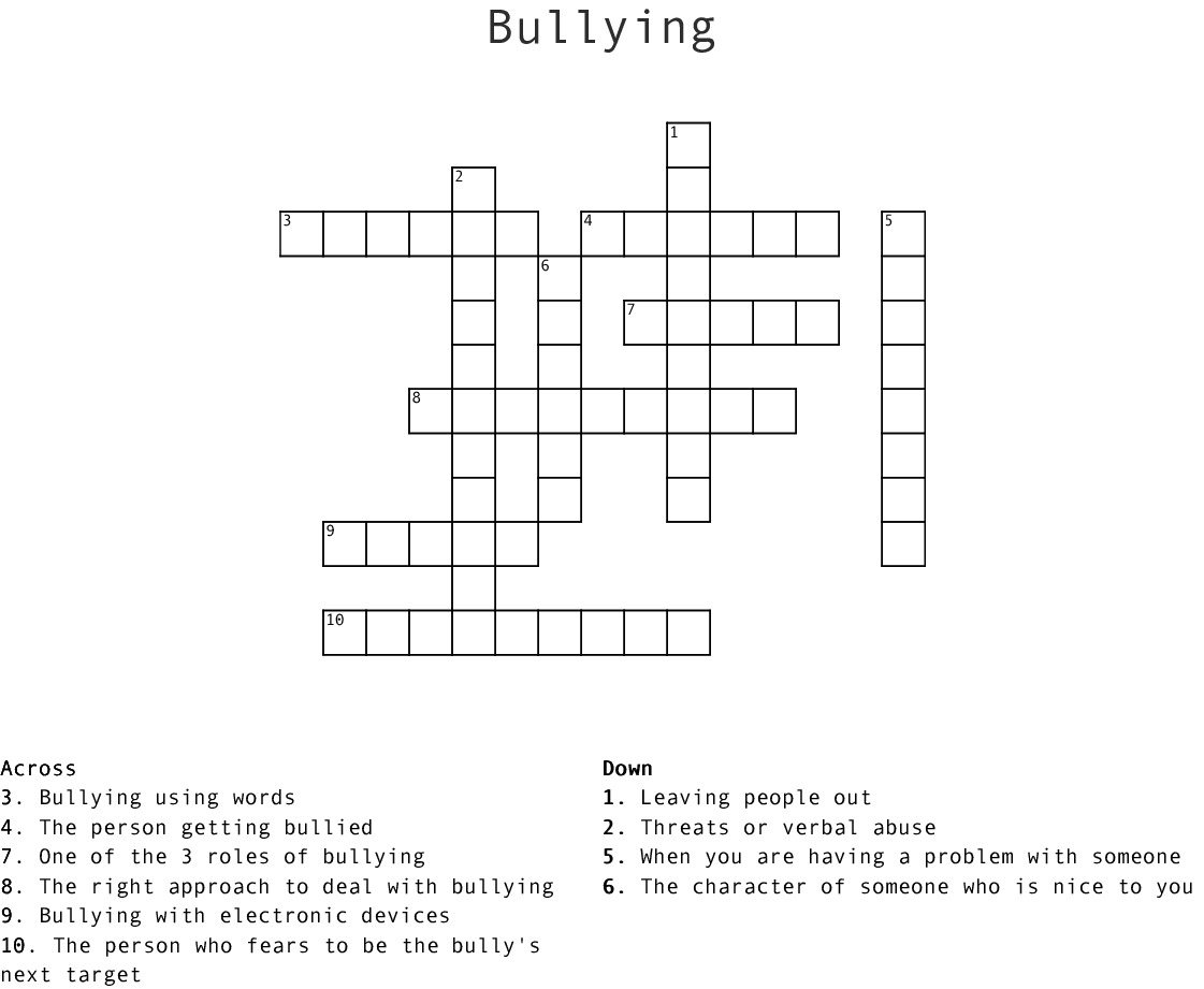 Bullying And Peer Pressure Word Search