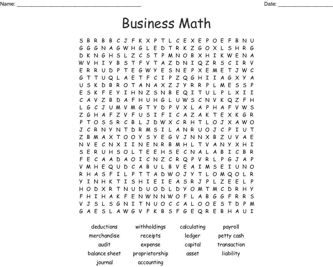 Accounting Terms Word Search