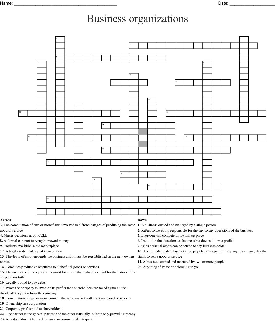 Budgeting Crossword
