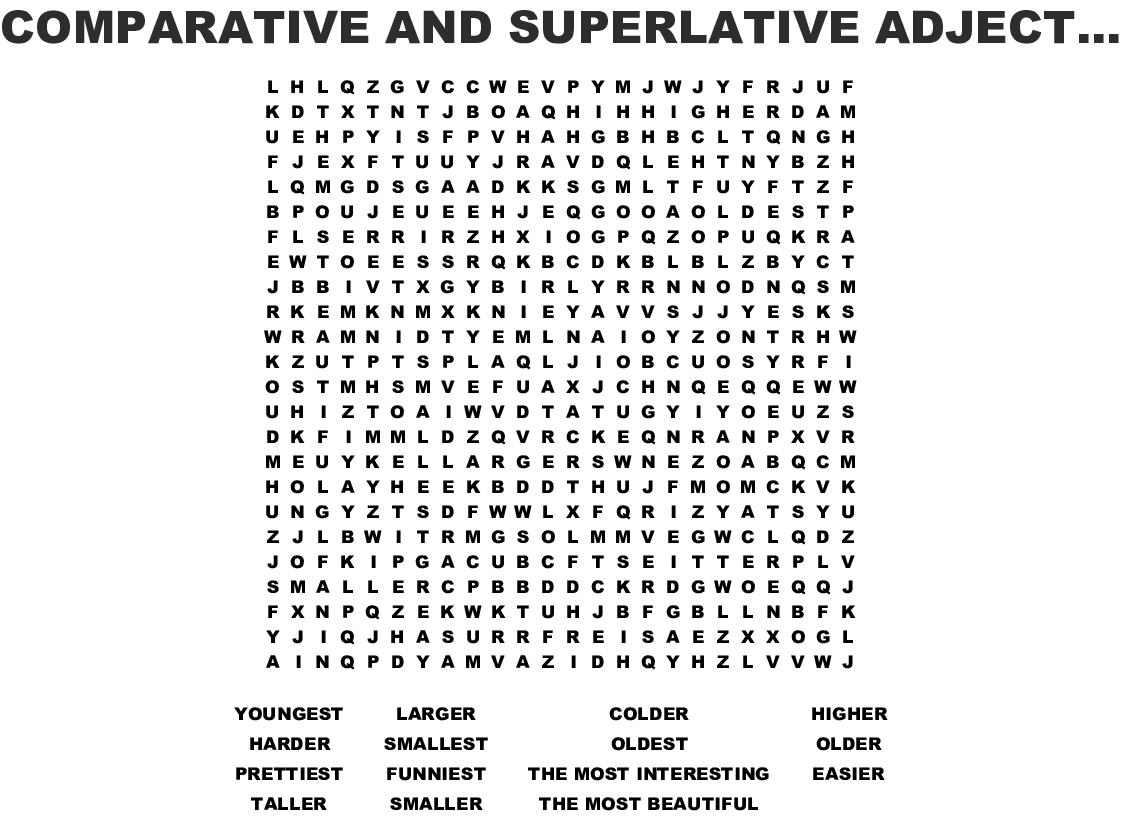Comparative And Superlative Adjectives Word Search