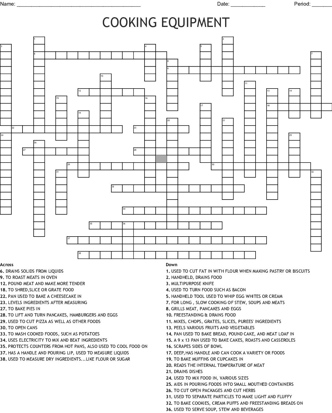 Cooking Equipment Crossword