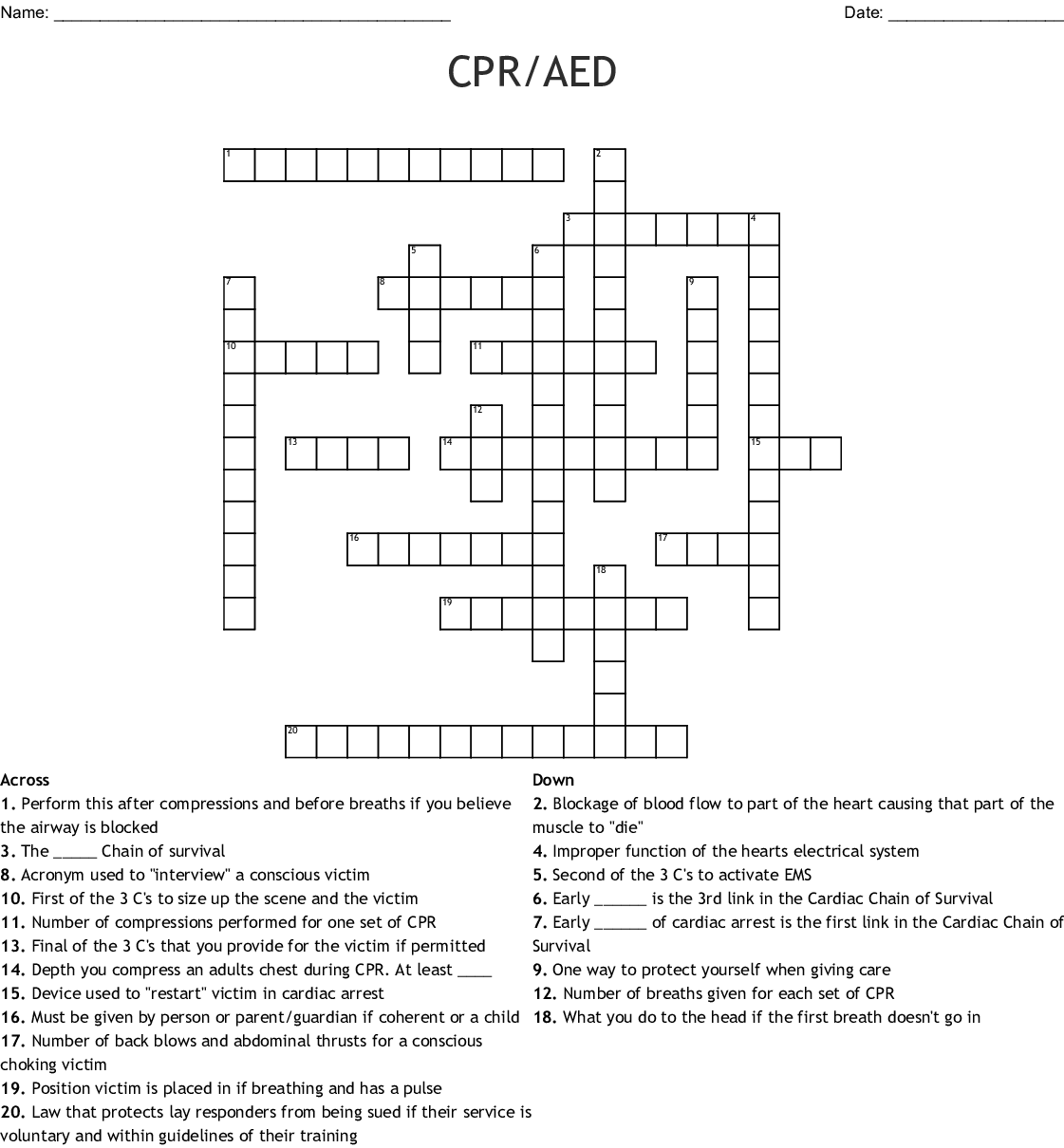 St John Ambulance First Aid Word Search