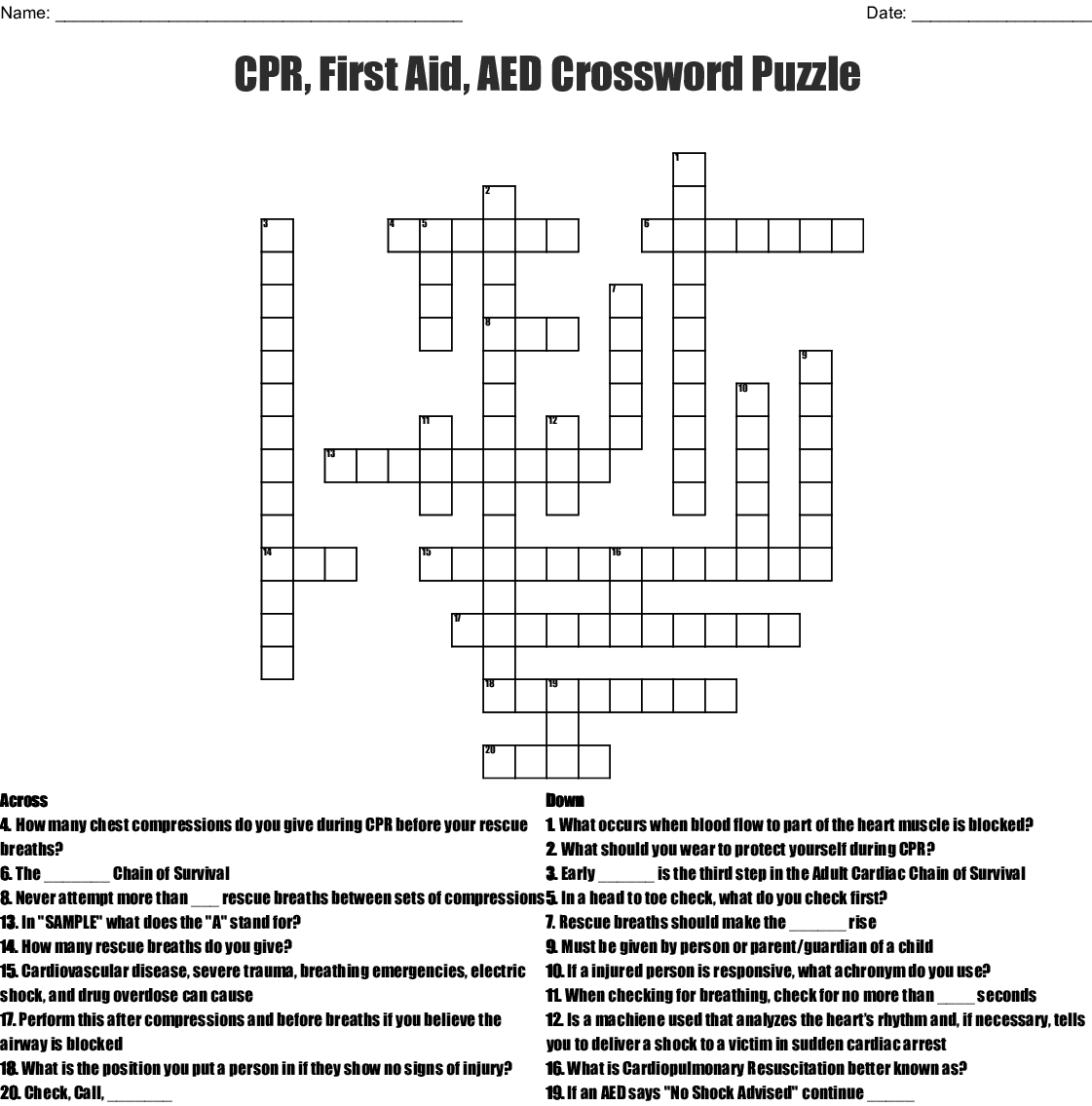 Cpr Worksheet Answer Key