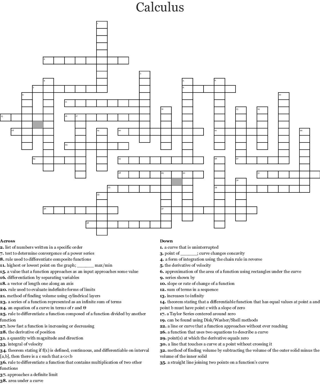 Calculus Crossword Puzzle