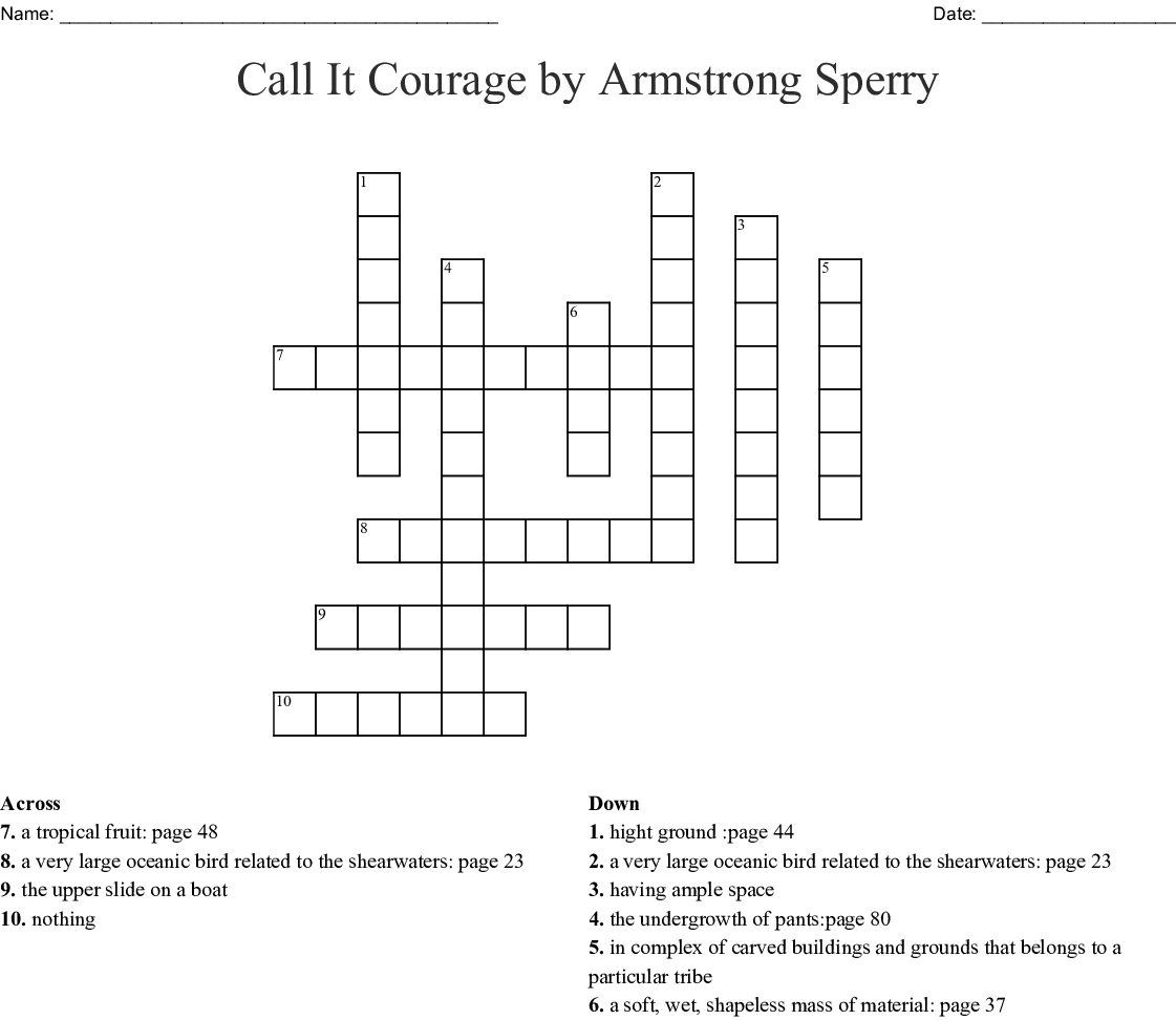 Call It Courage By Armstrong Sperry Crossword