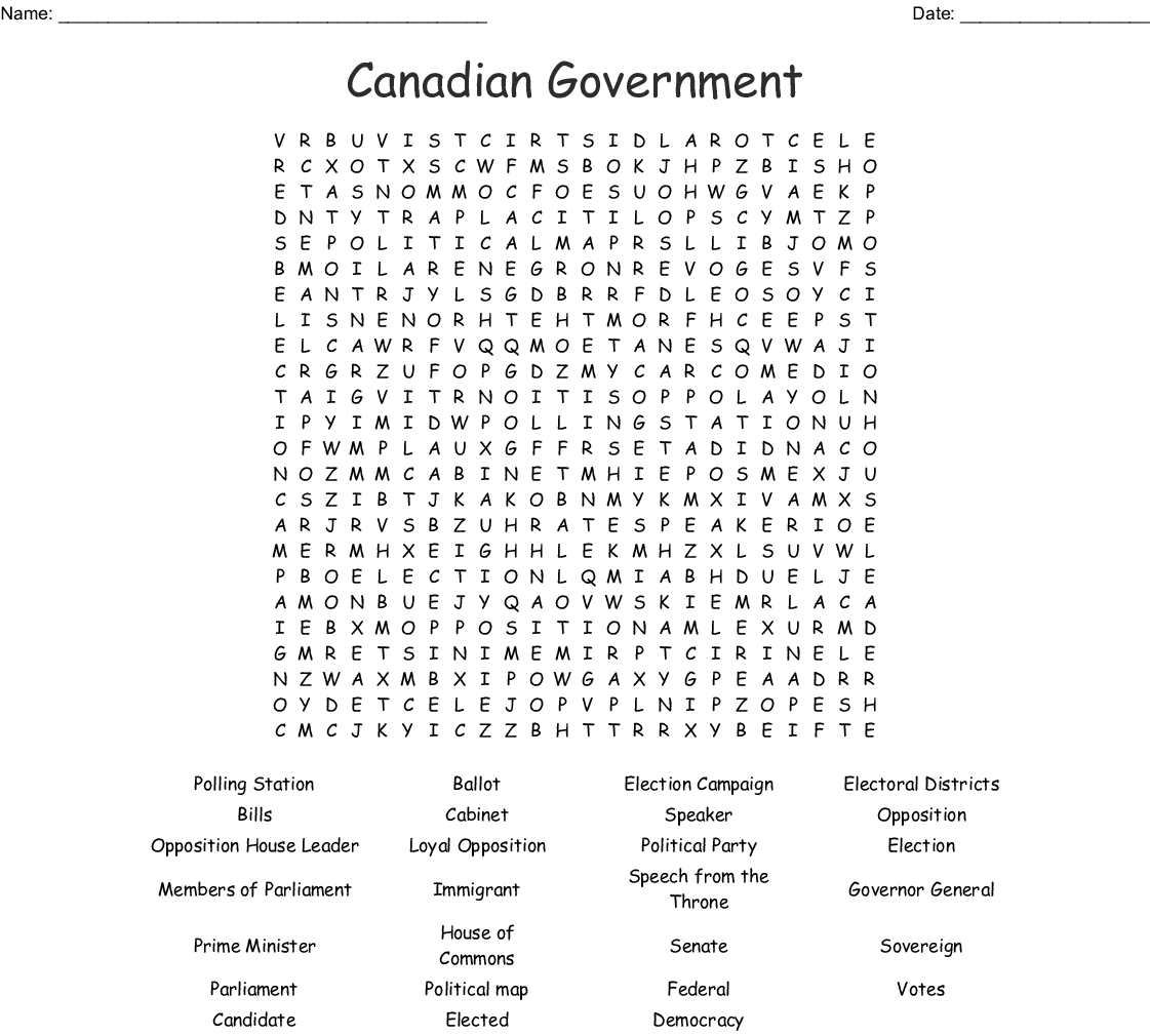 Canadian Government Word Search
