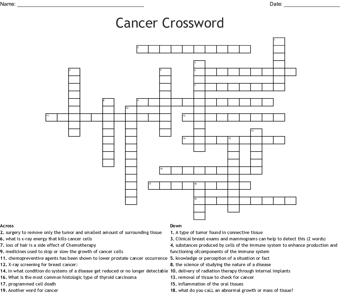 Cancer Crosswords Word Searches Bingo Cards