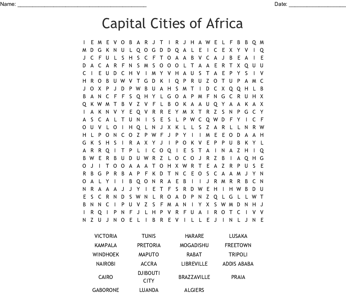Capital Cities Word Search