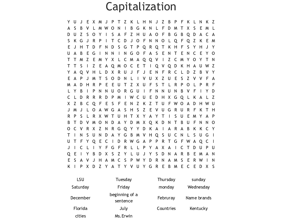 Capitalization Word Search