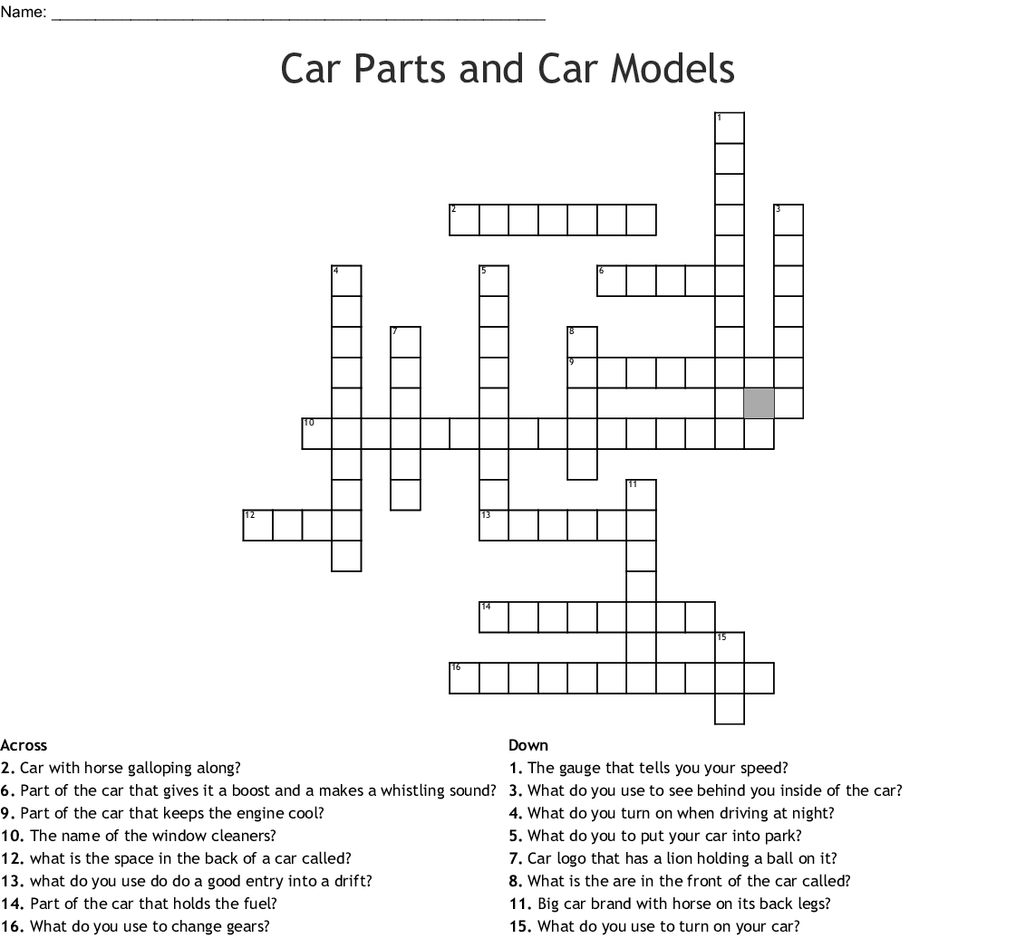 Parts Of A Car Word Search
