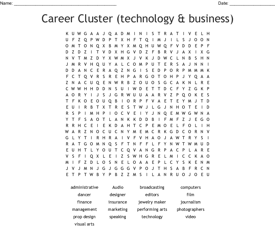 Arts Av Technology And Communication Careers Word Search