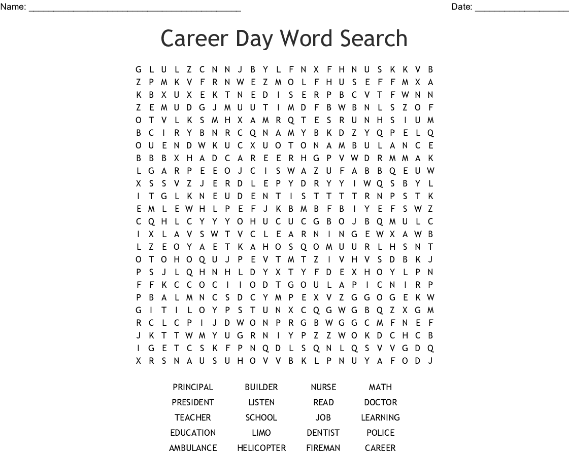 Career Day Word Search