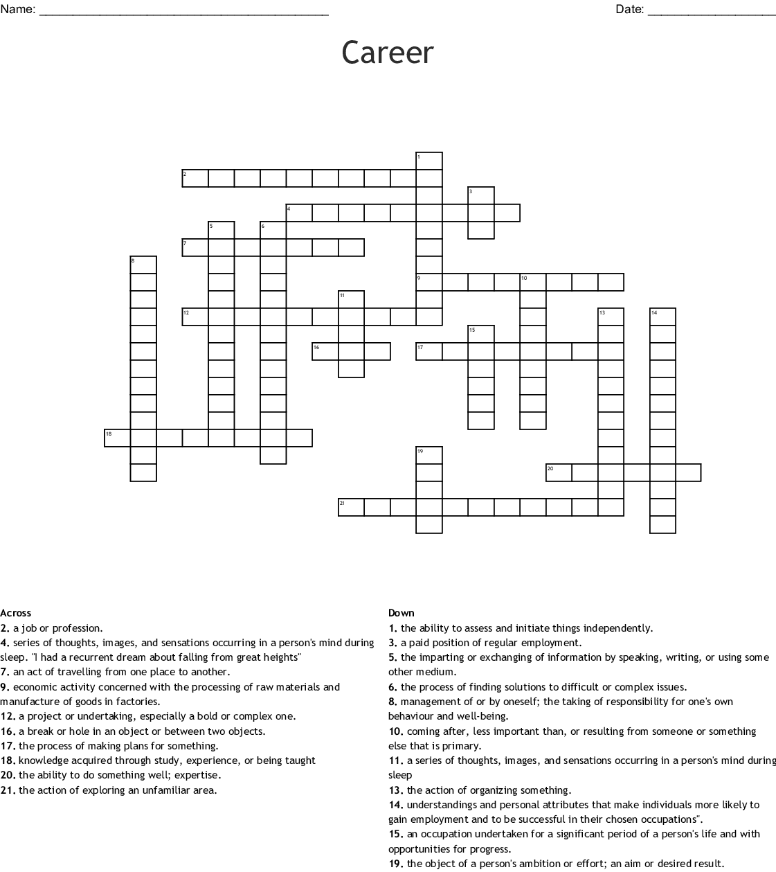 Career Crossword