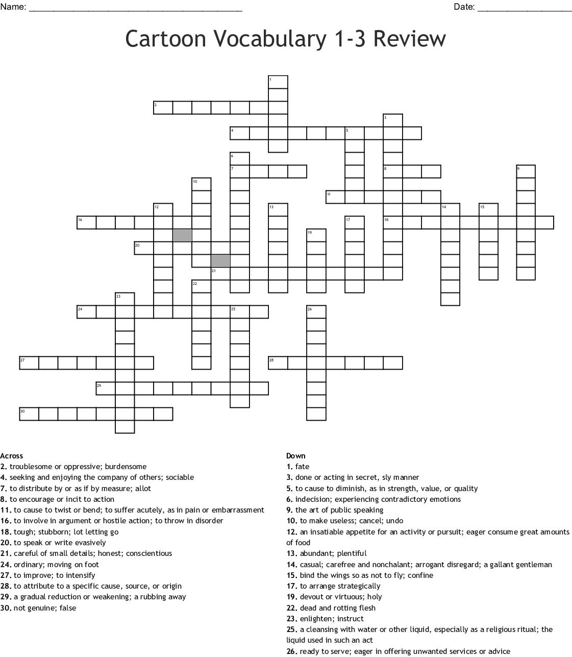 Cartoon Explosion Word Crossword