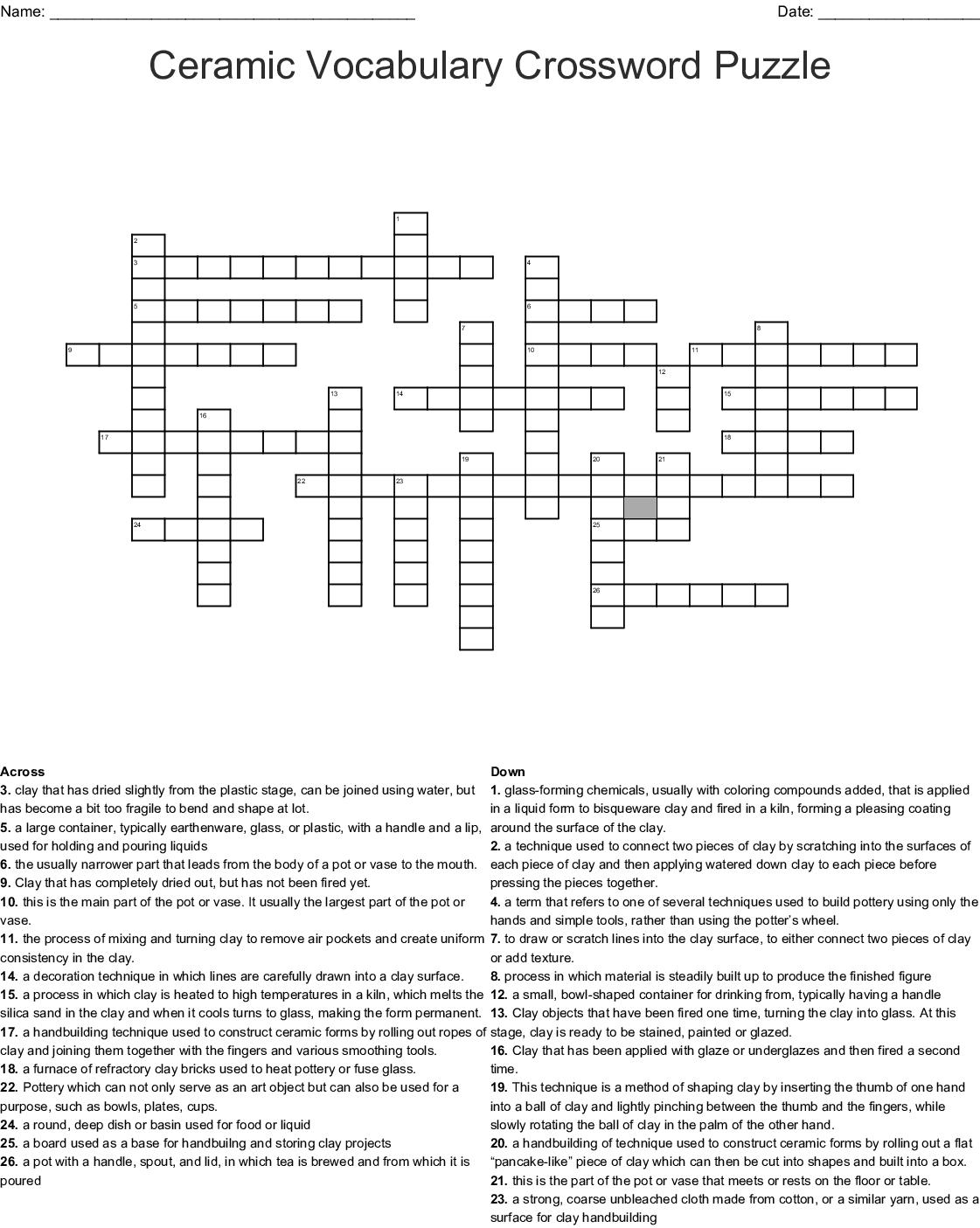 Clay Crossword Worksheet