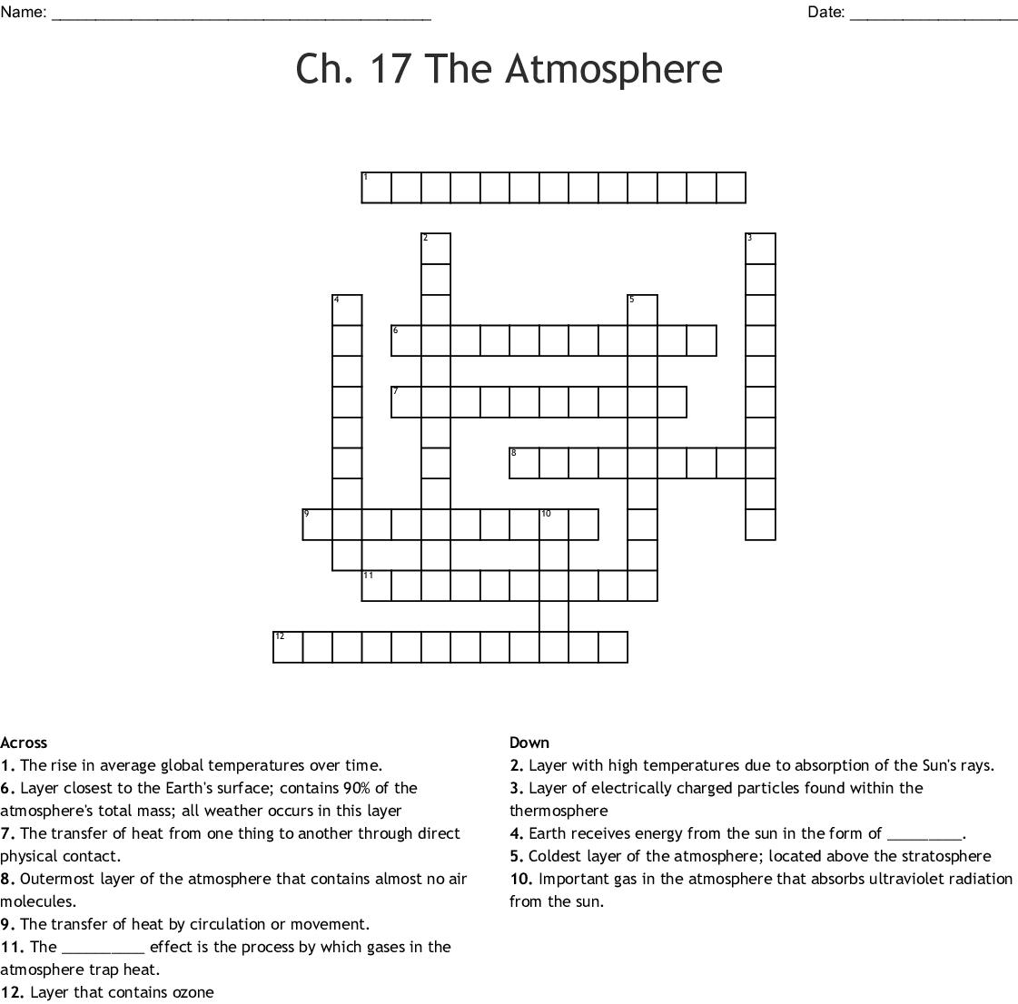 Major Source Of Oxygen In Earth S Atmosphere Crossword