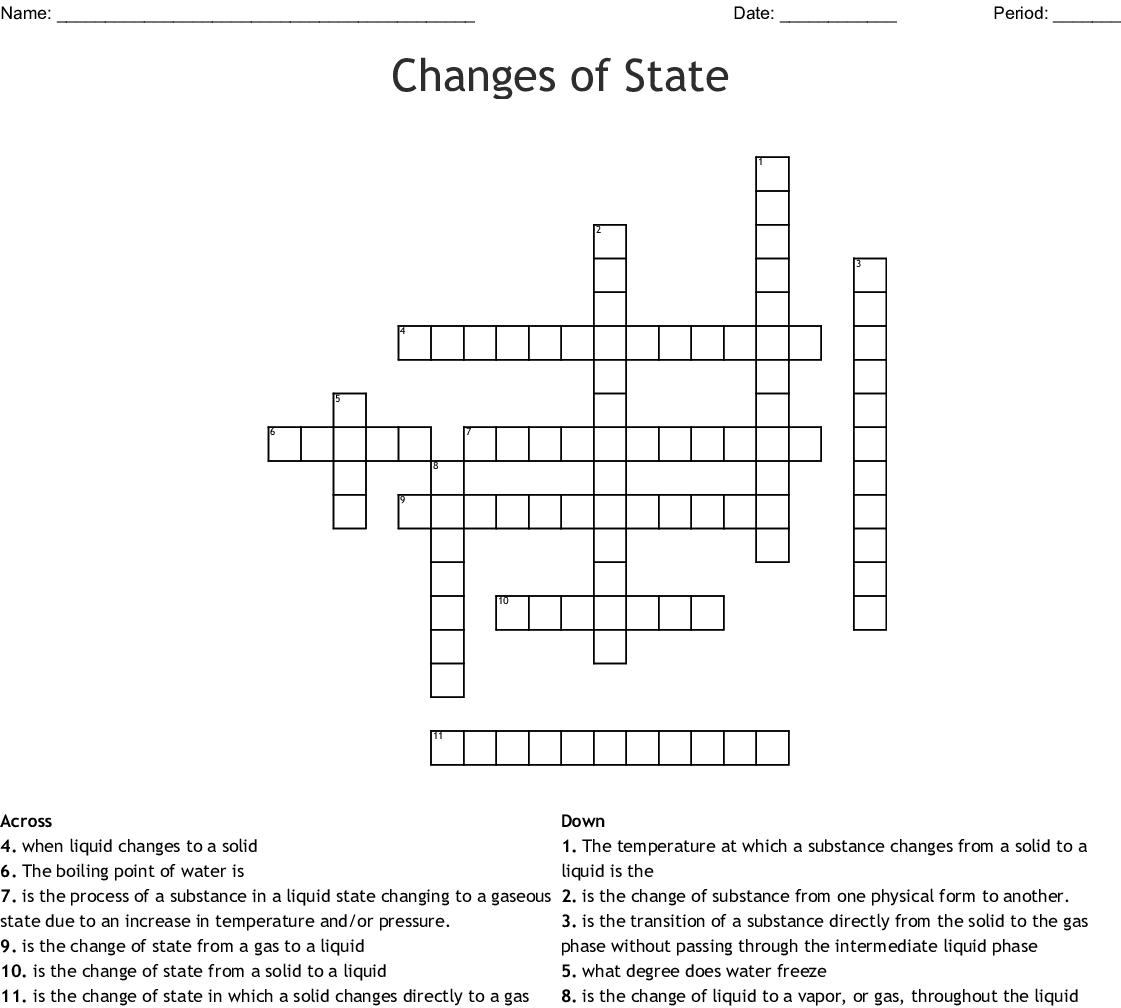 Matter In Our Surroundings Crossword