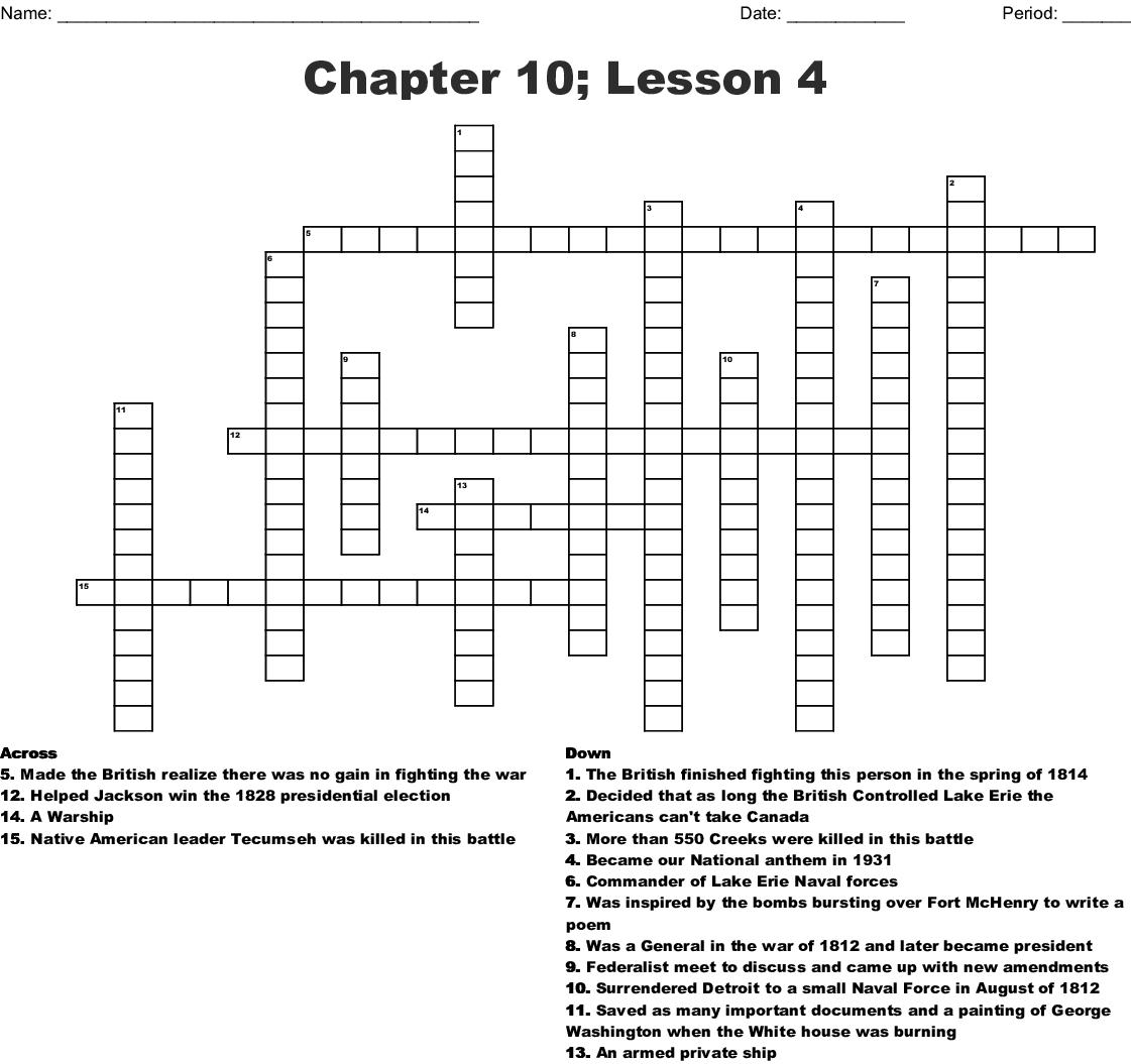 Chapter 10 Lesson 4 Crossword