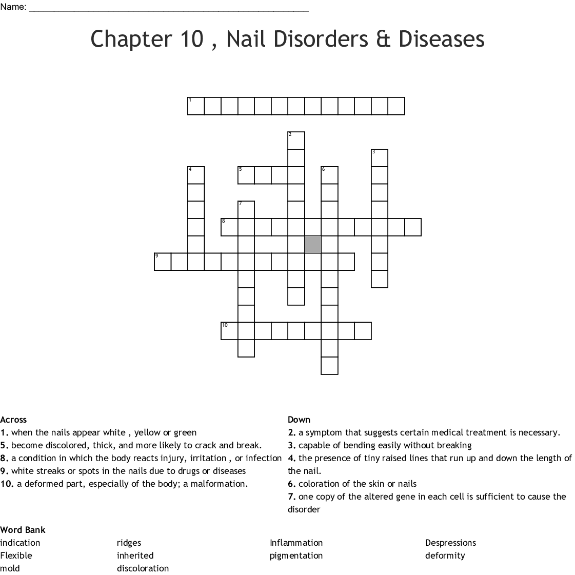 Chapter 10 Nail Disorders Amp Diseases Crossword