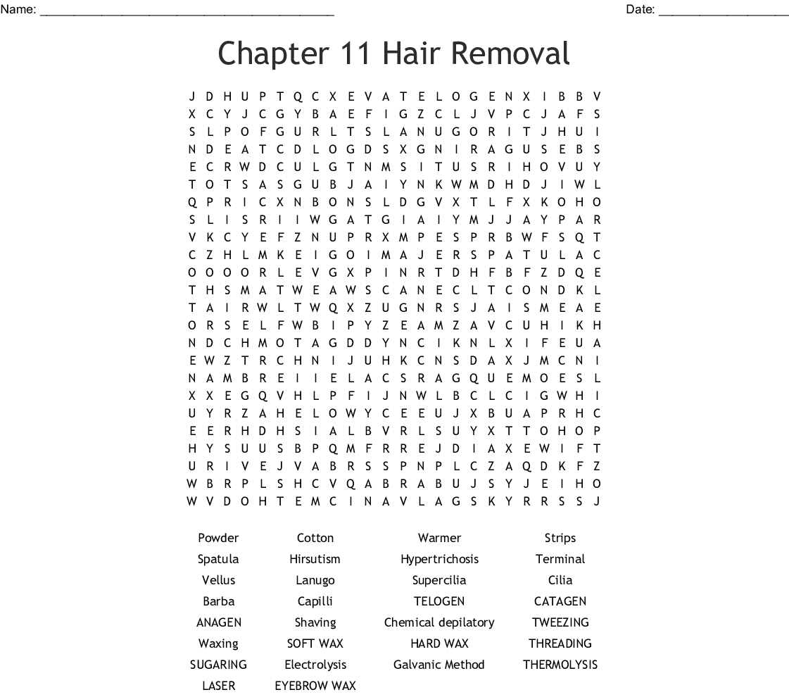 Hair Removal Word Search