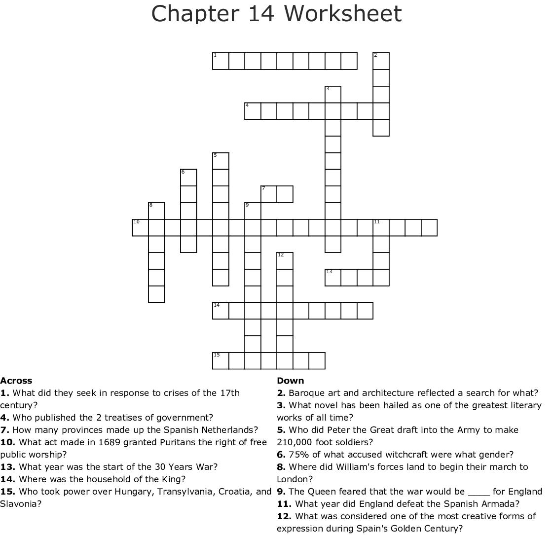 Chapter 14 Worksheet Crossword