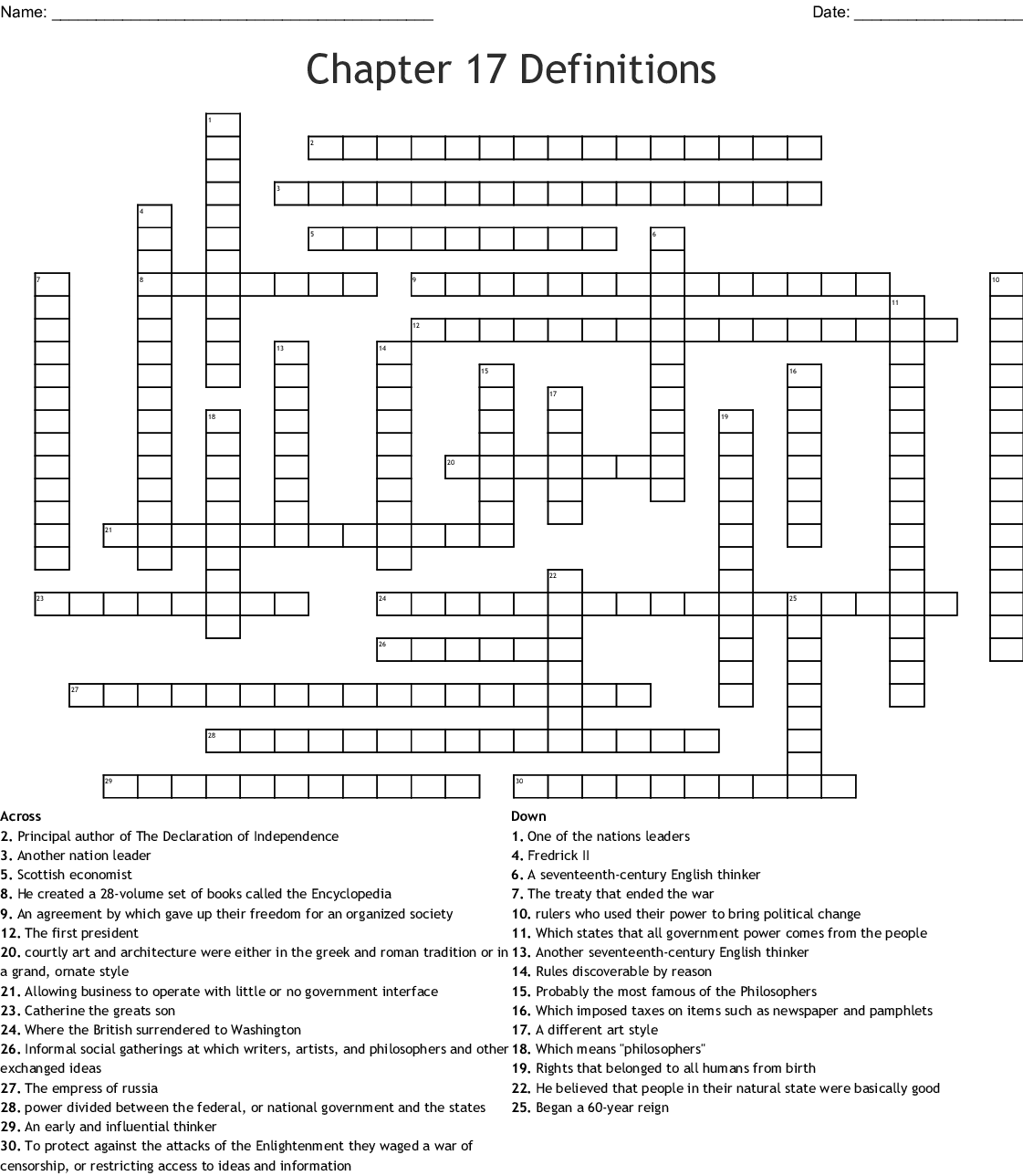 Chapter 17 Definitions Crossword