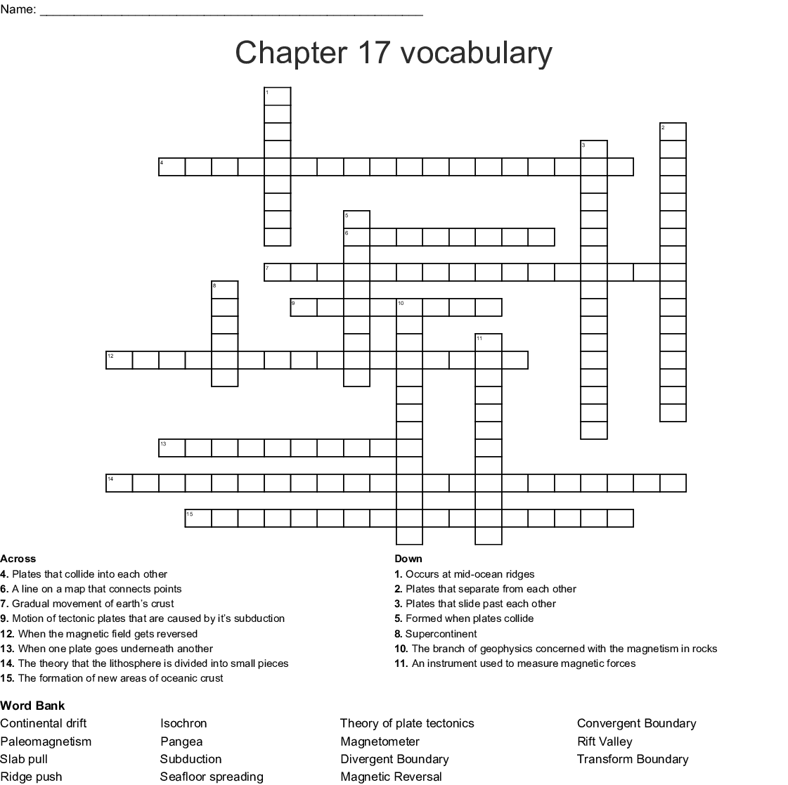 Geology Crosswords Word Searches Bingo Cards