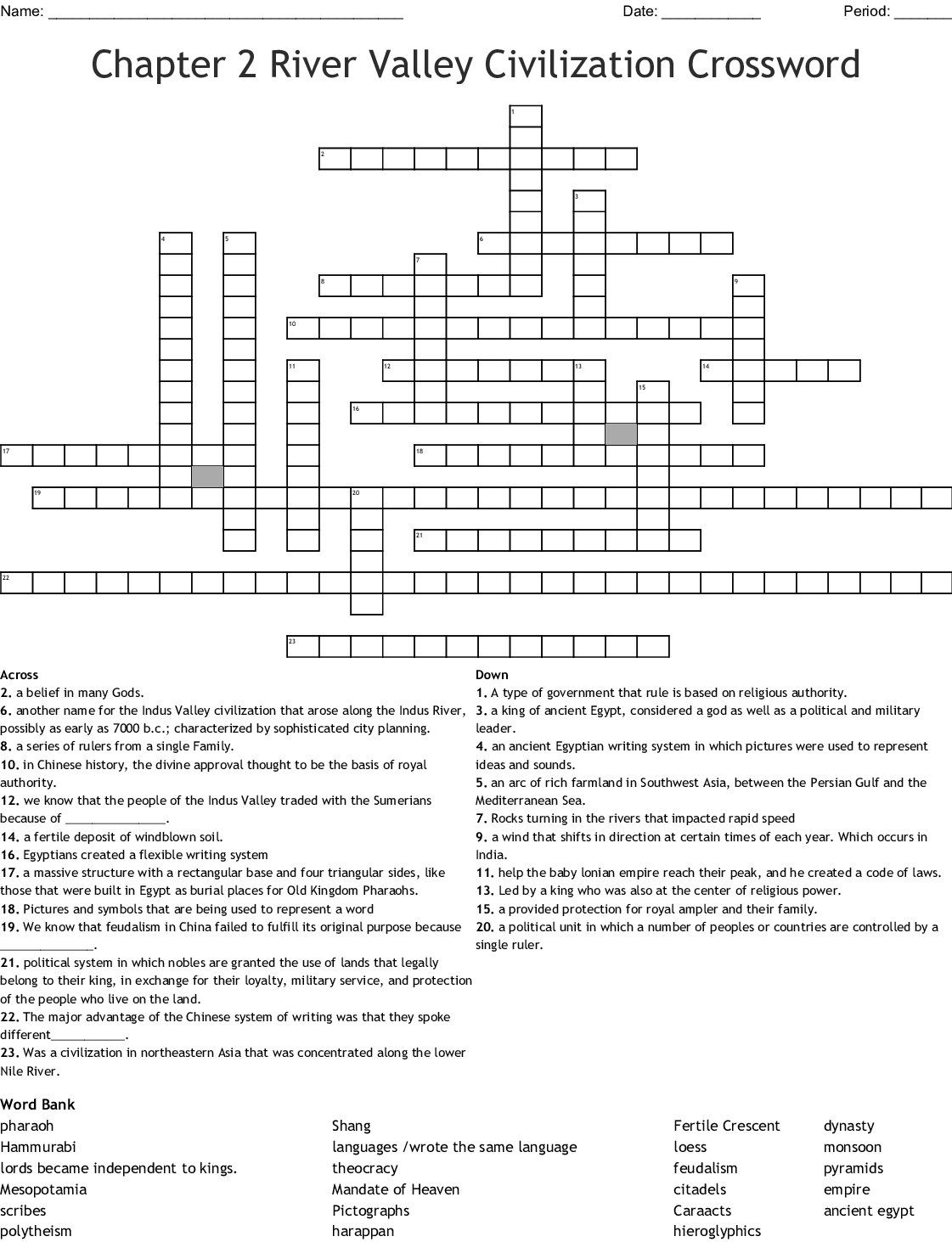 Early River Valley Civilizations Word Search