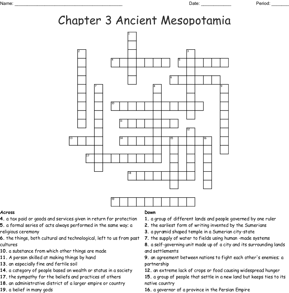 Chapter 3 Ancient Mesopotamia Crossword
