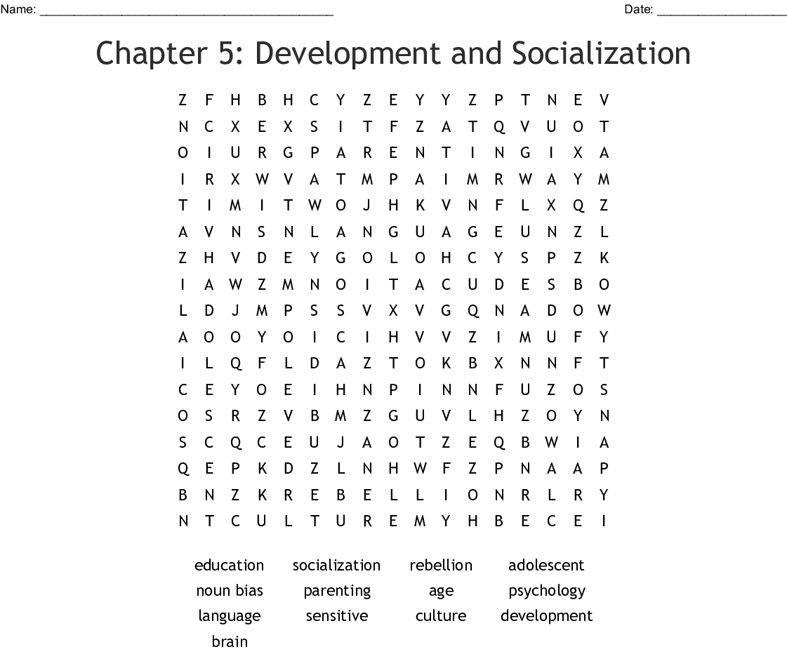 Chapter 5 Development And Socialization Word Search