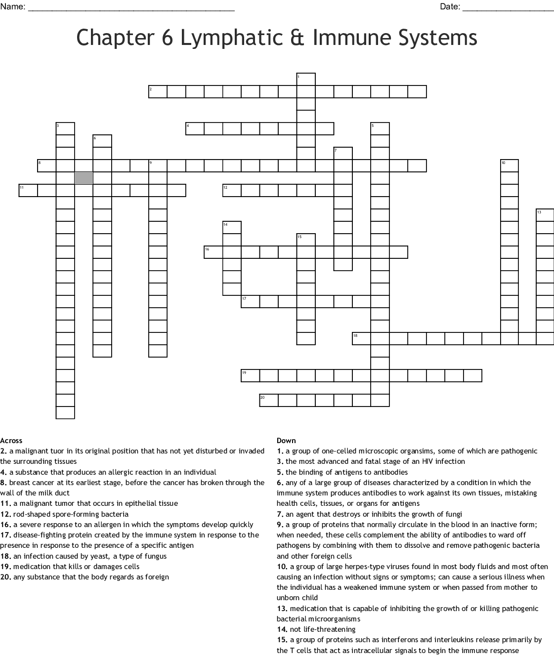 Chapter 6 Lymphatic Amp Immune Systems Crossword