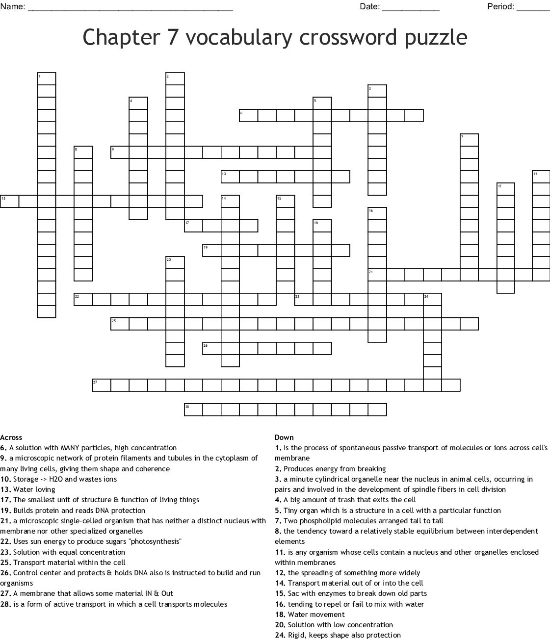 Chapter 7 Urinary System Crossword Puzzle Answers