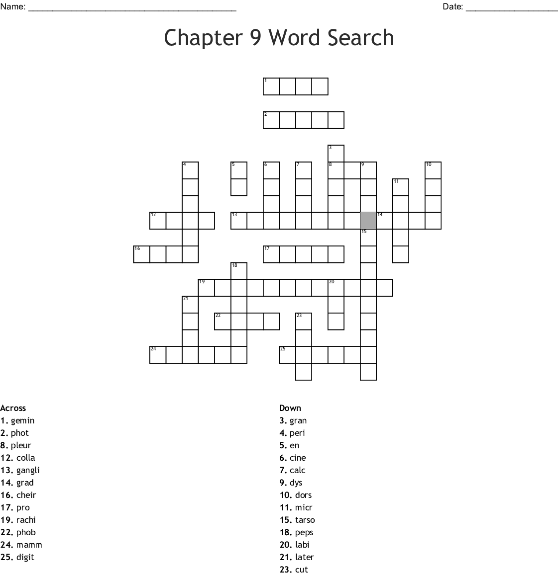 Chapter 9 Word Search Crossword
