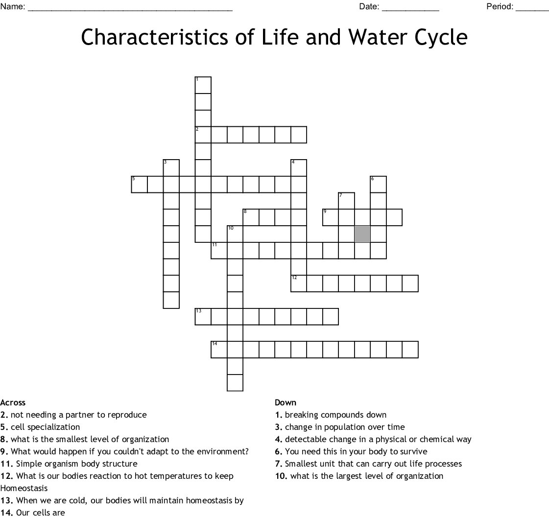 Characteristics Of Life And Water Cycle Crossword