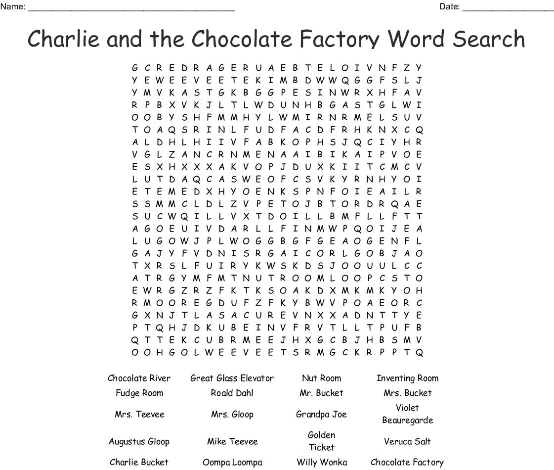 Charlie And The Chocolate Factory Word Search