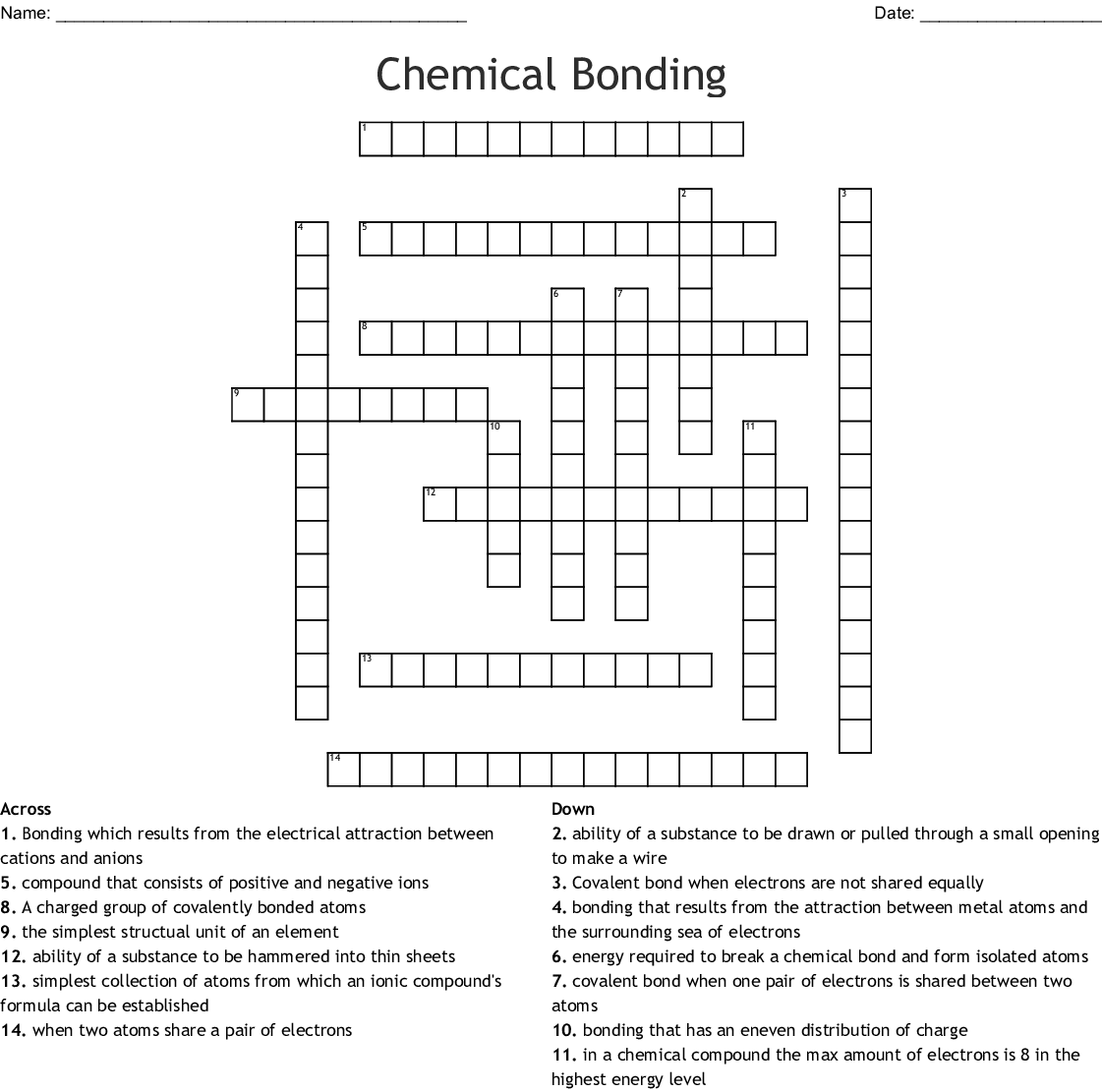 Chemical Bonding Crossword