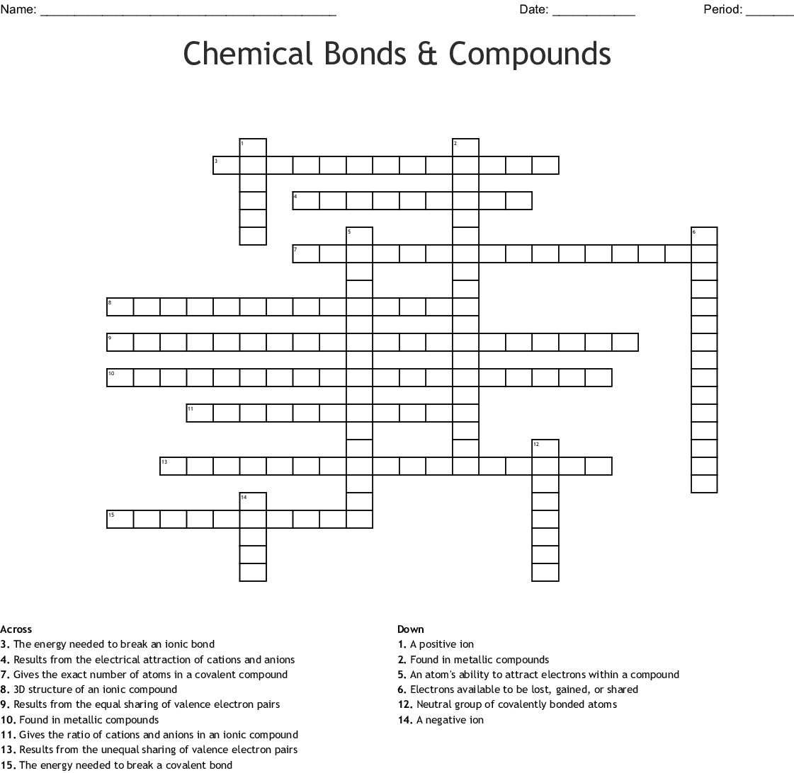 Ionic And Covalent Crossword