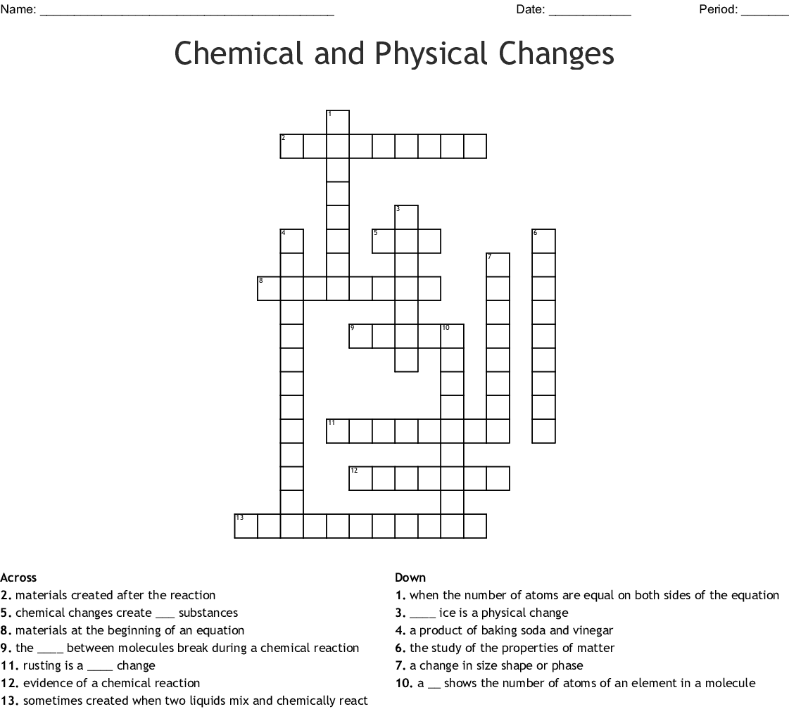 Chemical And Physical Changes Crossword