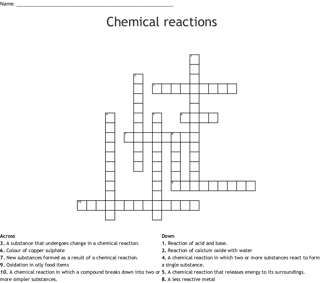 Similar To Chemical Reactions Crossword