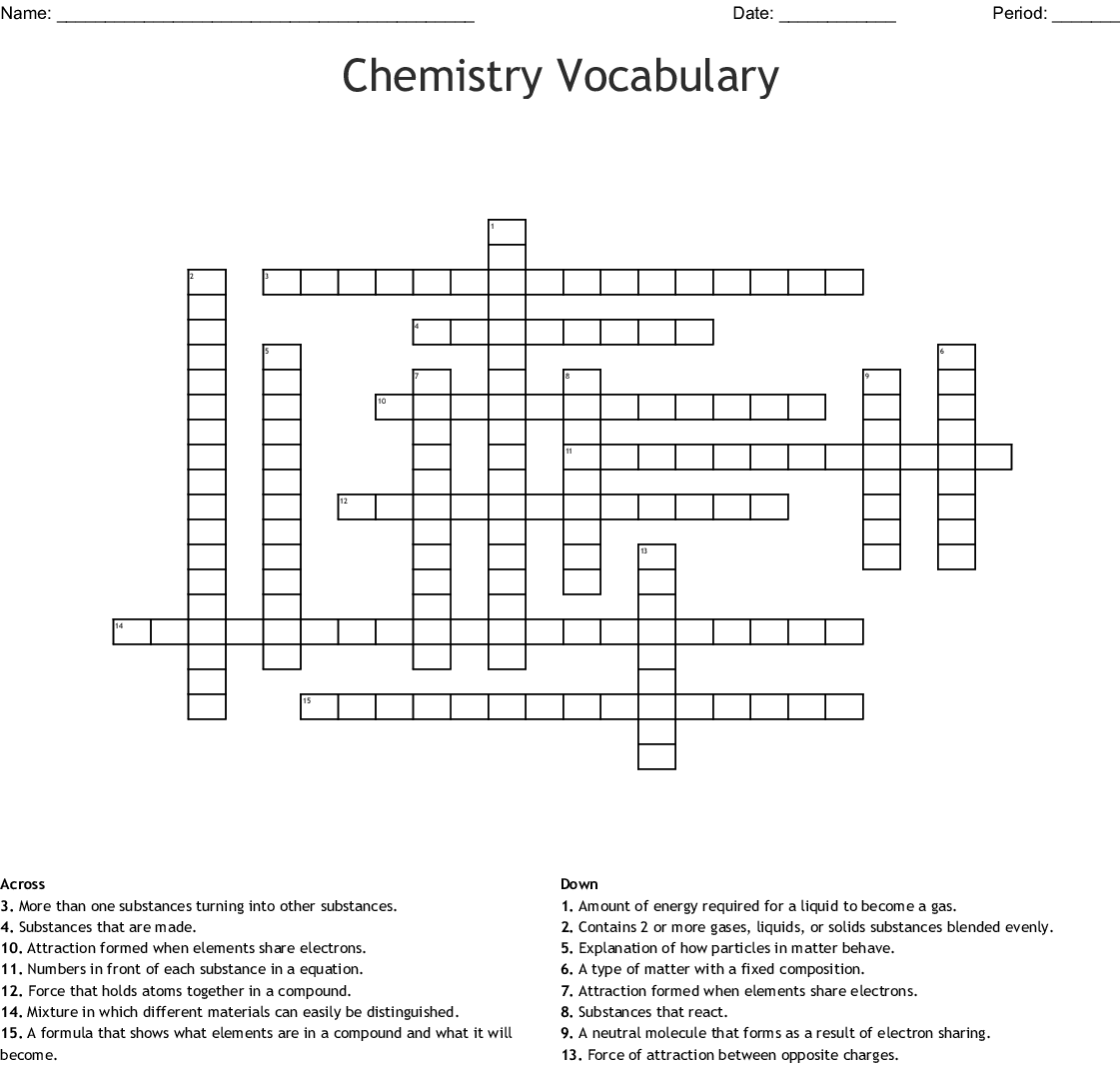 Atoms Elements And Compounds Crossword