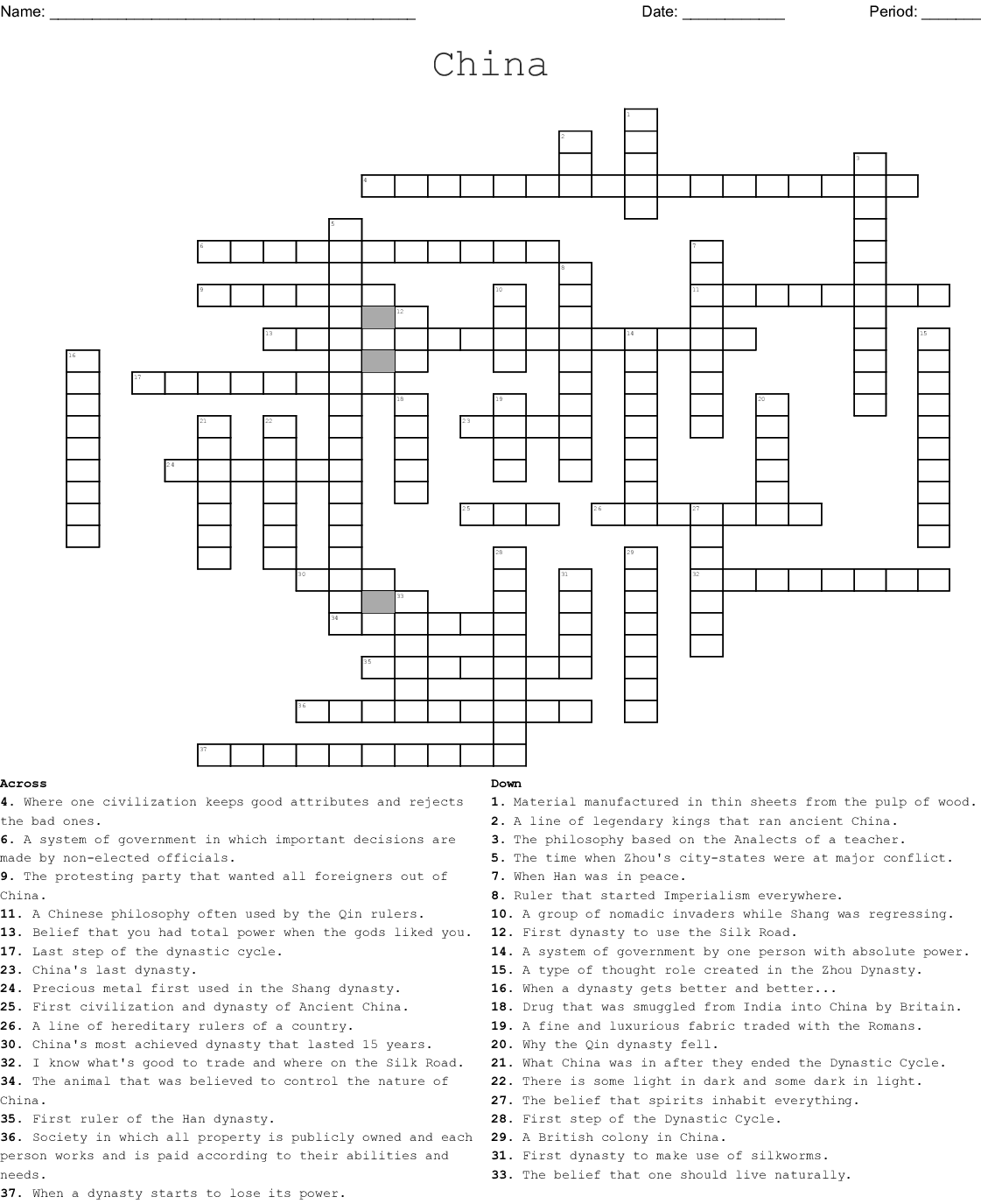 Ancient China Crossword Puzzle