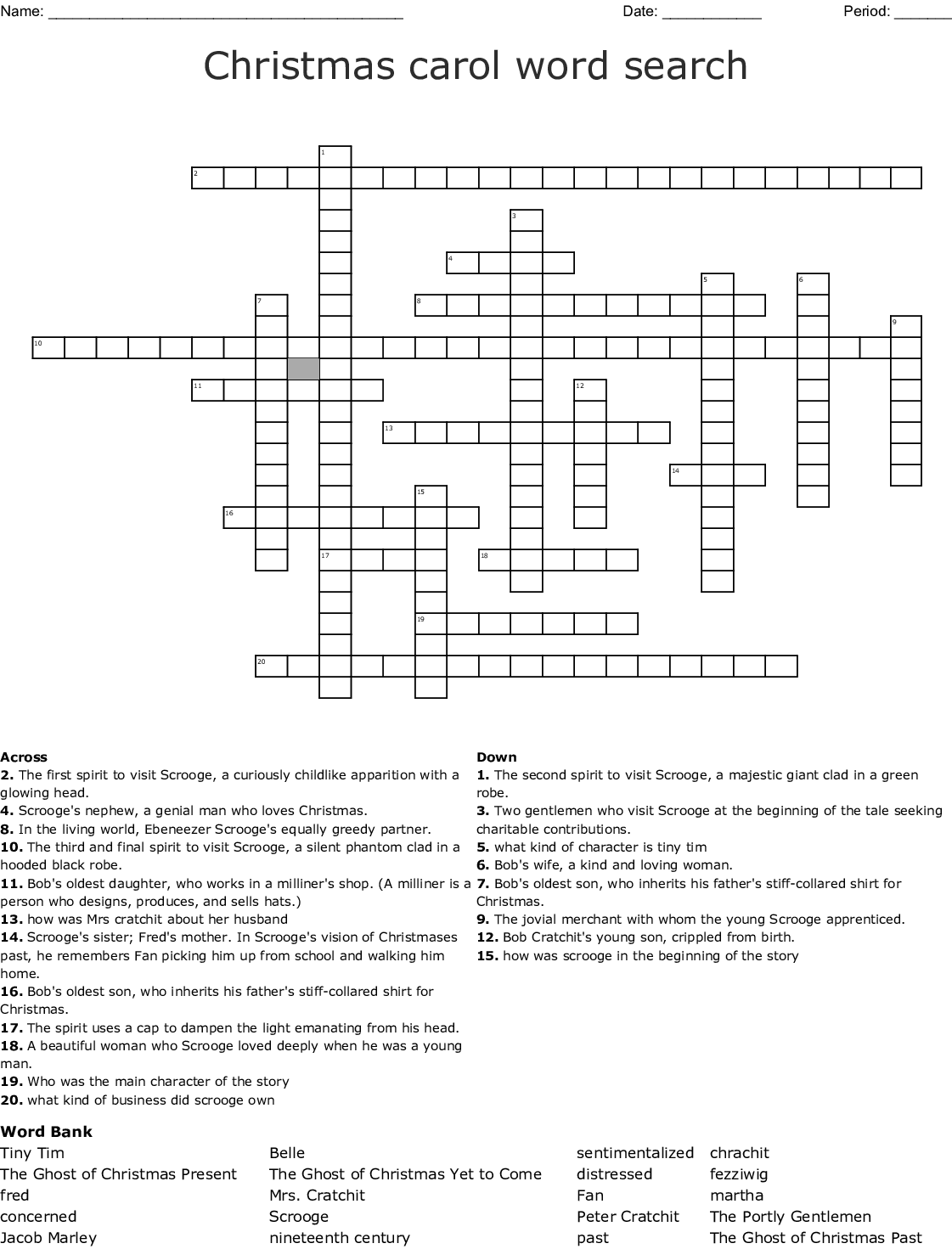 A Christmas Carol By Charles Dickens Crossword