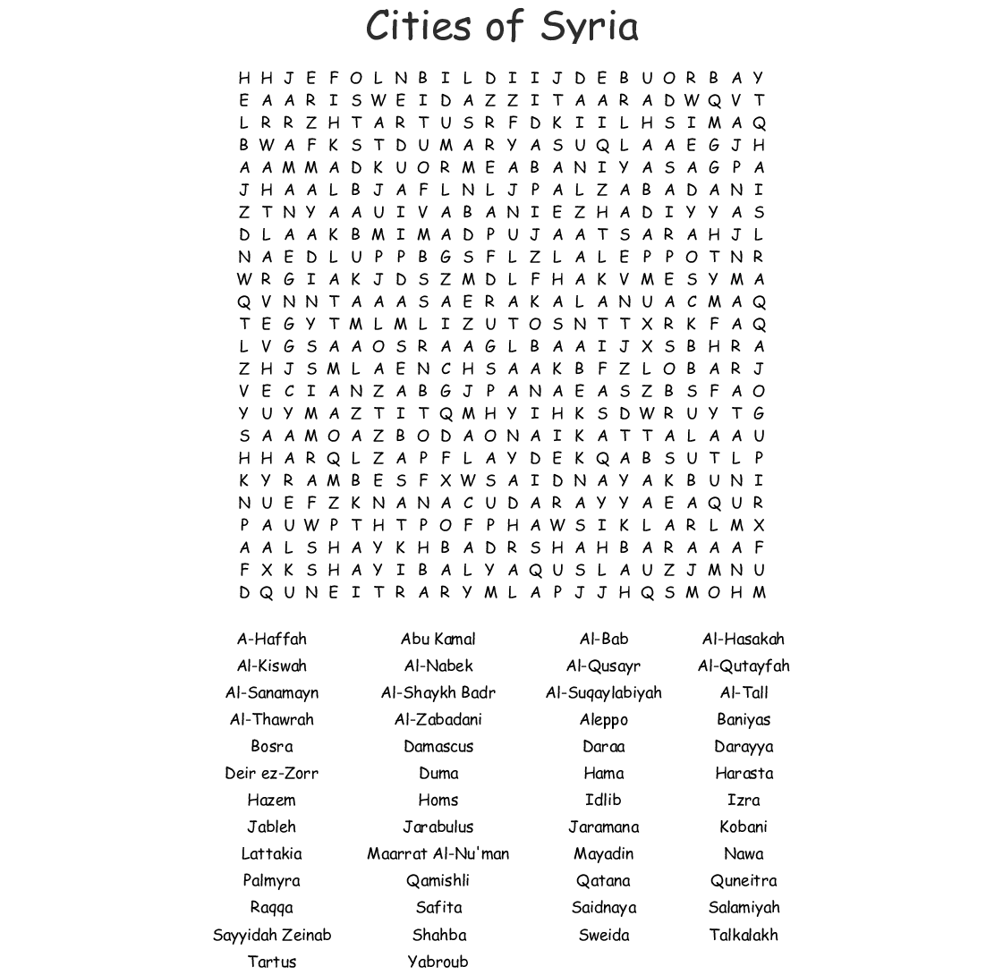 Cities Of Syria Word Search