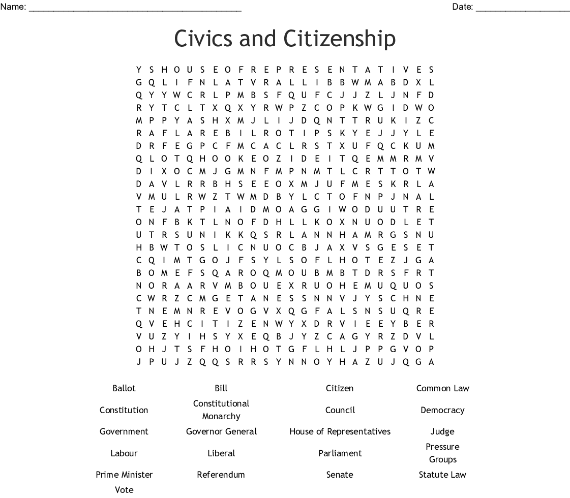 Civics And Citizenship Word Search