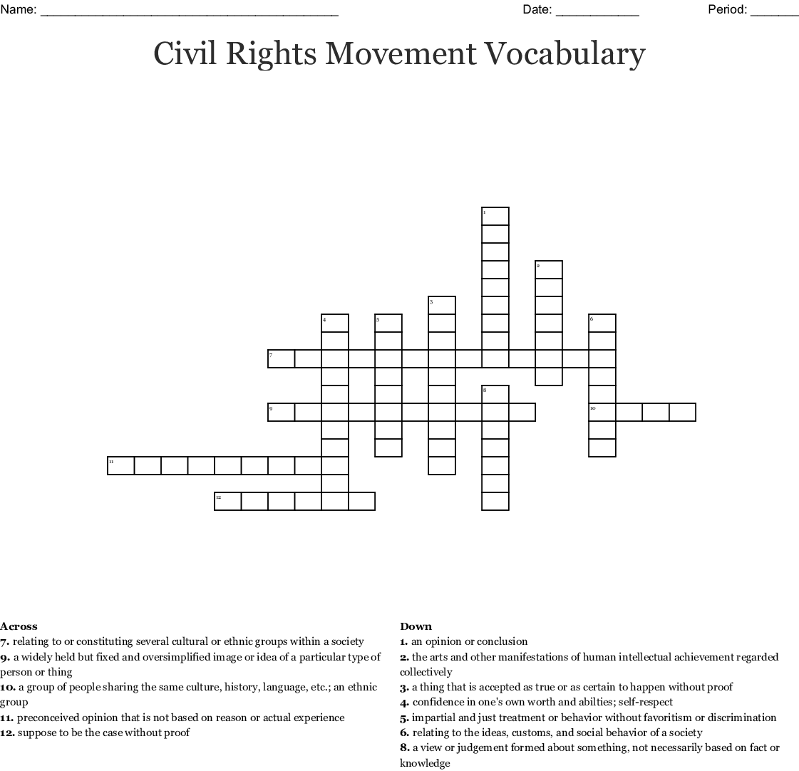 Civil Rights Movement Worksheet Answers