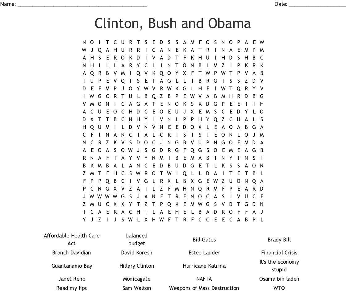 Clinton Bush And Obama Word Search