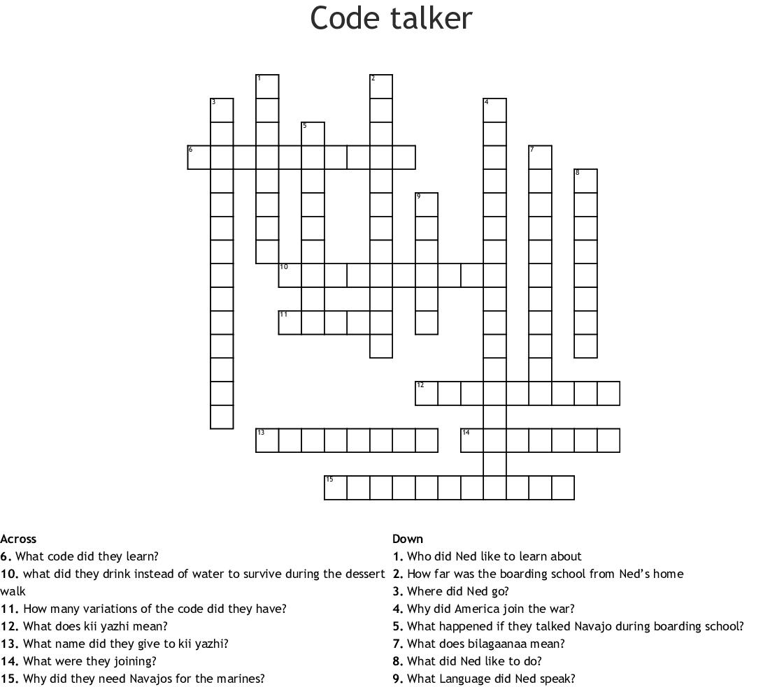 Code Talker Crossword